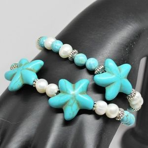 Star motif turquoise and pearls bracelet